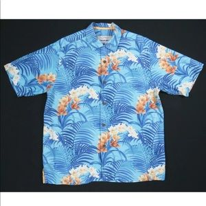 Tommy Bahama Fronds Floral Loop Collar Silk Shirt